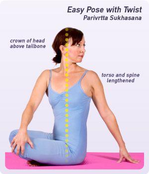 easy pose with twist parivrtta sukhasana is a simple