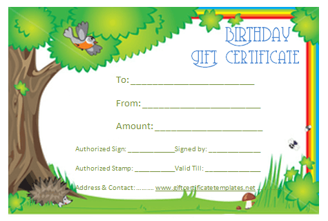 Green Birthday Gift Certificate Template  Beautiful Printable