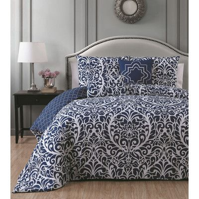Avondale Manor Madera 5 Piece Duvet Cover Set Color: Navy, Size: Full/Queen