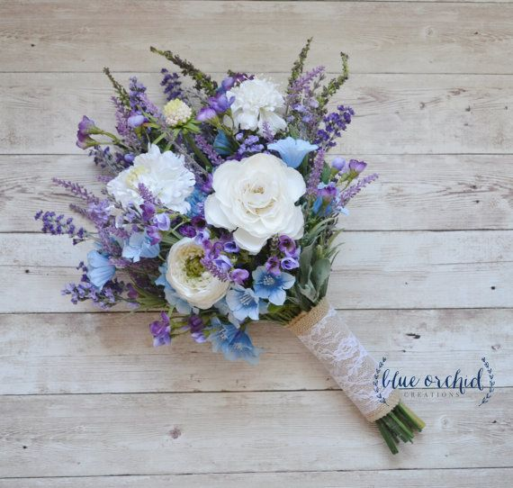 Rustic Wedding Bouquet Blue And Lavender Wildflower Bouquet With Cream Ranunculus And Thistle Rustic Wedding Bouquet Blue Wedding Bouquet Wedding Bouquets