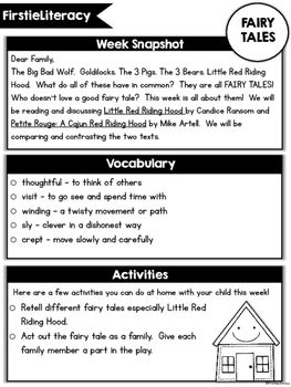 FirstieLiteracy® First Grade Home Connection -... by Tara ...