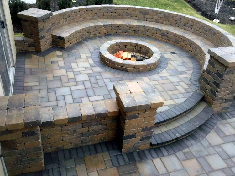 Stone Patio Bench With Firepit Something Like This With