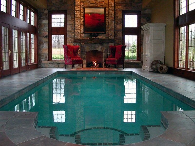 interior pool with dark natural stones fireplace and walls two grand - creer une maison en 3d