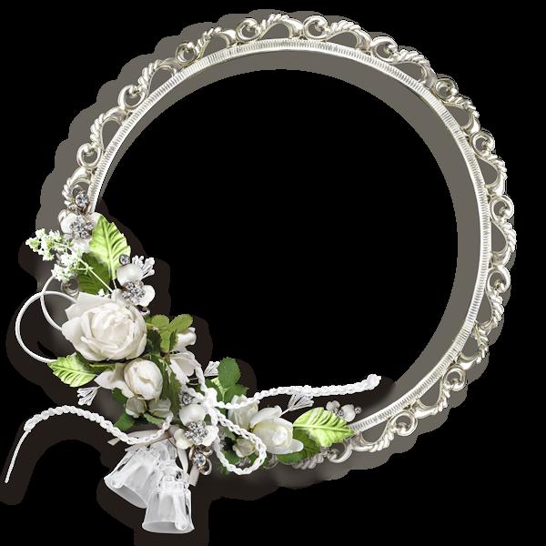 White Round Flowers Transparent Frame Flower border