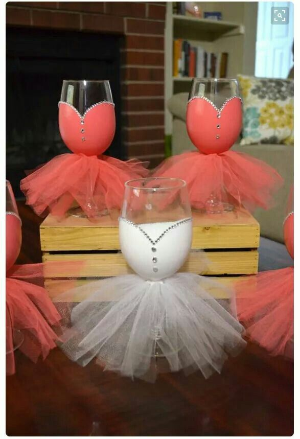 Wine glasses, tulle, stones and paint.