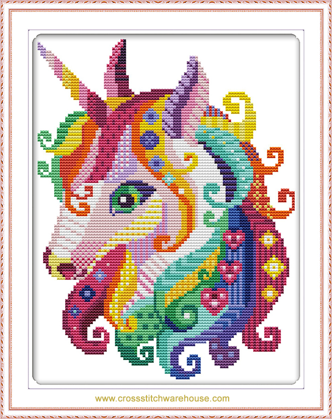 Easy Counted Cross Stitch Kit Colourful Unicorn
