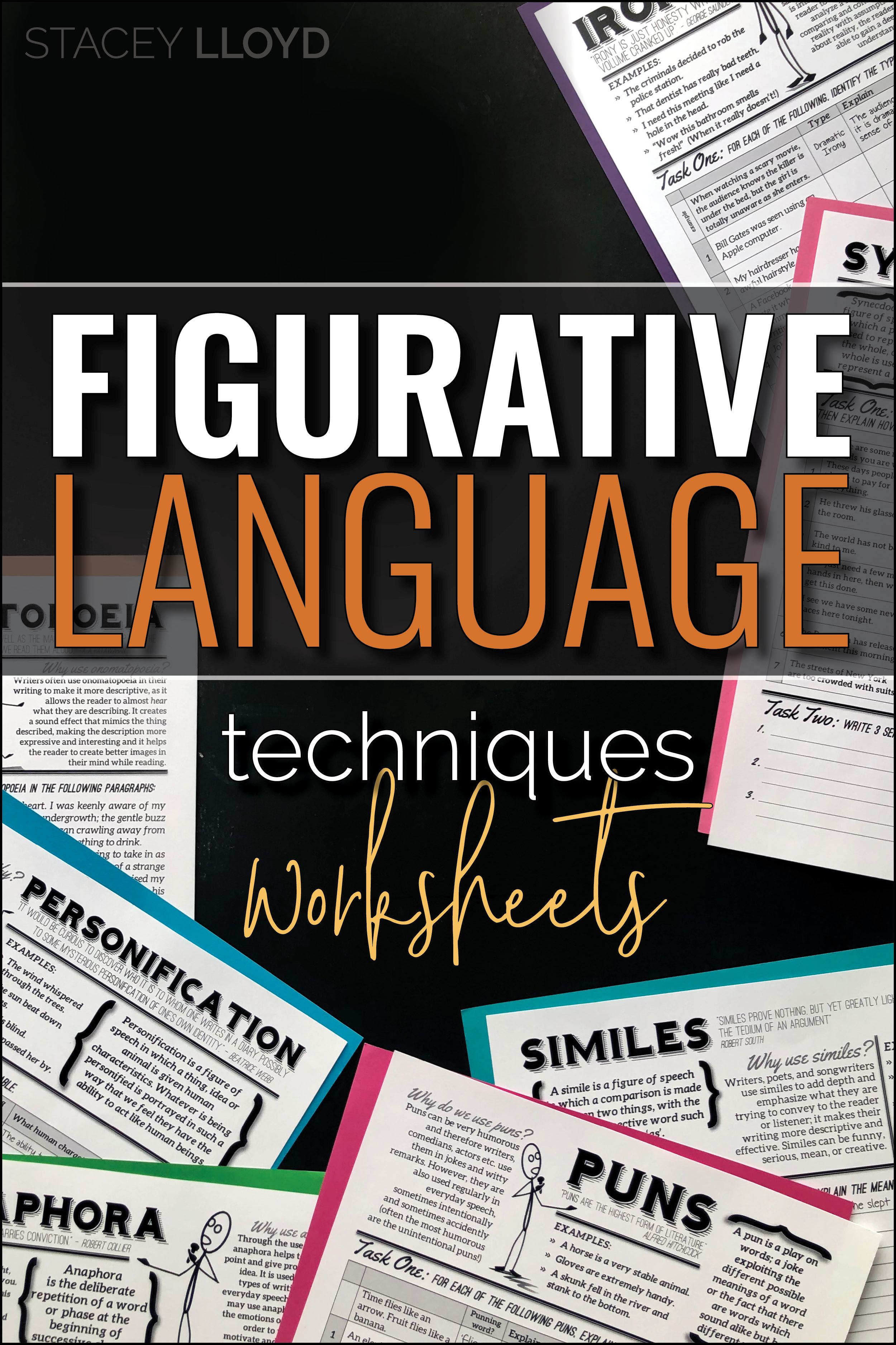 Teaching Figurative Language Techniques Worksheets