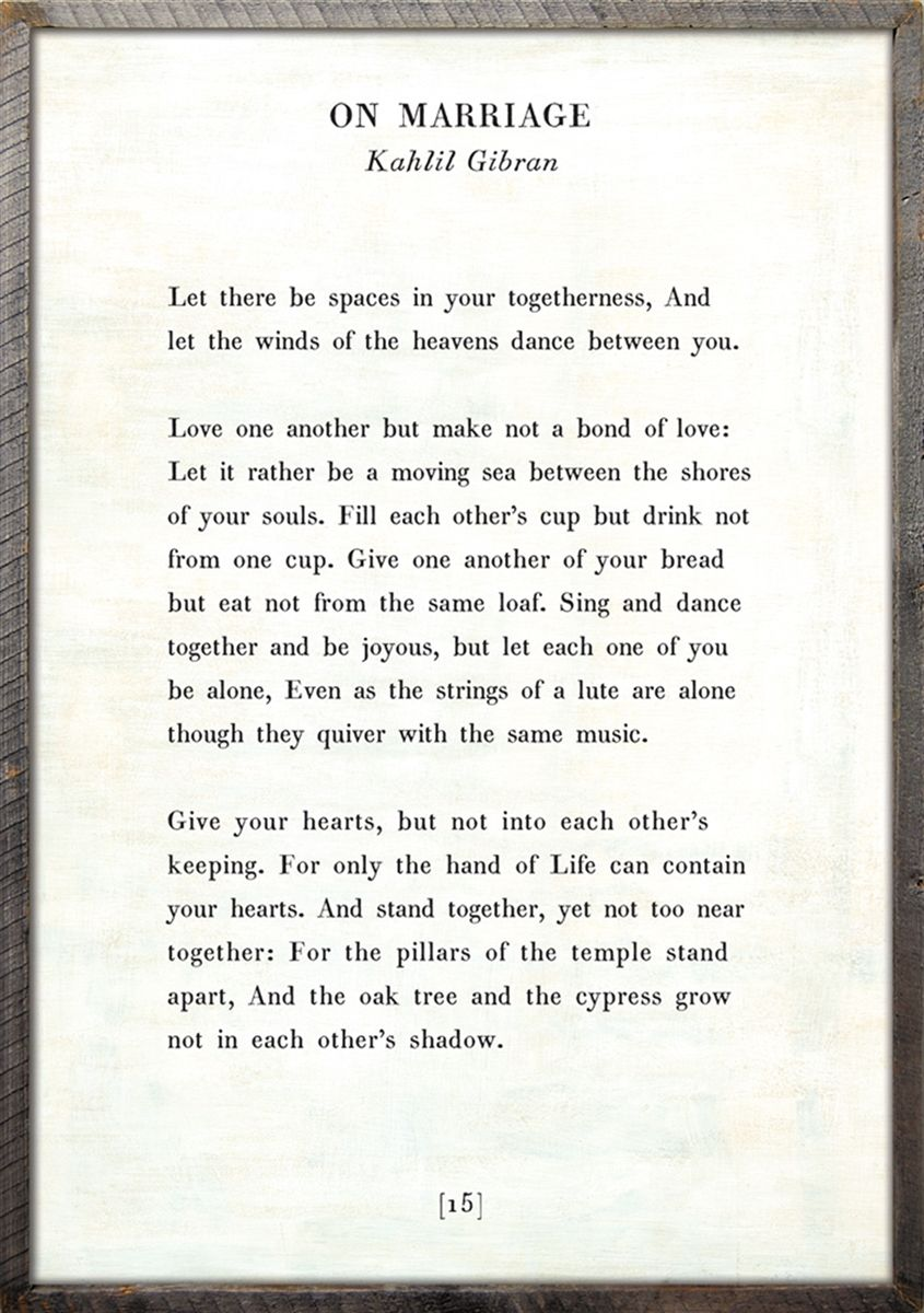On Marriage Poetry Wall Art By Kahlil Gibran Kahlil Gibran On Marriage Kahlil Gibran Love Quotes For Him