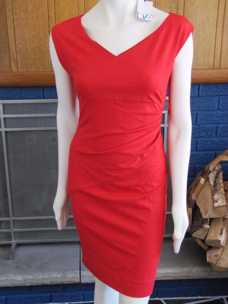 NWT $348 DVF DIANE VON FURSTENBERG Bevin Poppy Red Ruched Sheath Cocktail Dress! #DianevonFurstenberg #Sheath #Cocktail