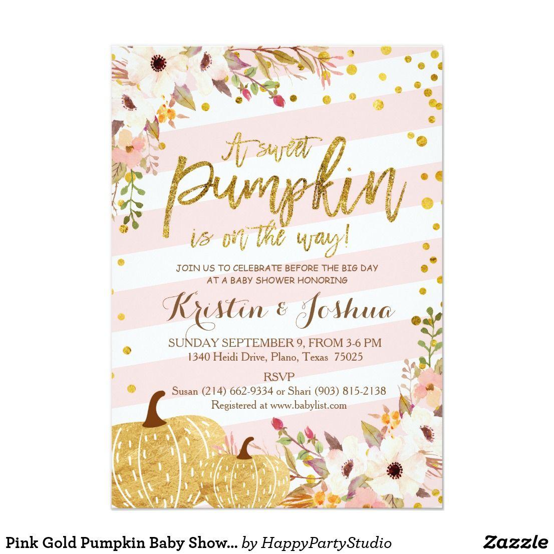 Pink Gold Pumpkin Baby Shower Invitation   Baby shower   Pinterest ...