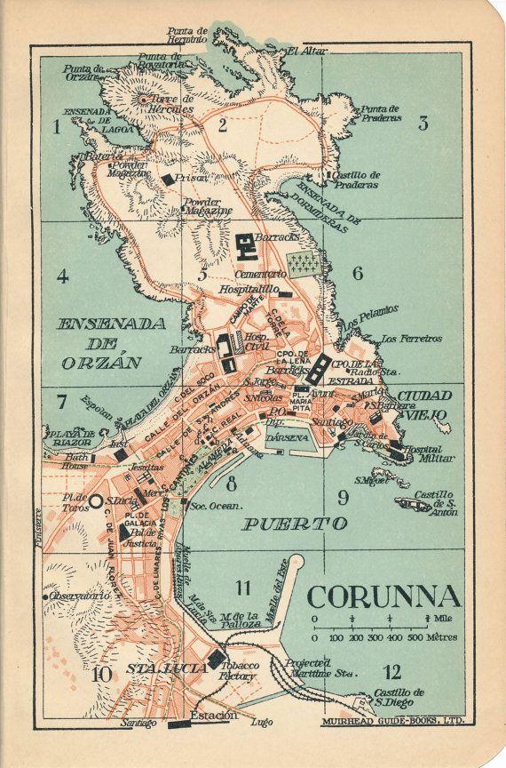 Map Of Spain 1930.1930 La Coruna A Coruna Spain Antique Map Travel Map Spain