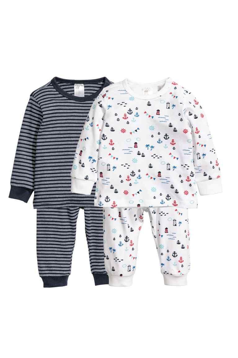 b7c2c8da0fe9 2-pack pyjamas - White Patterned - Kids