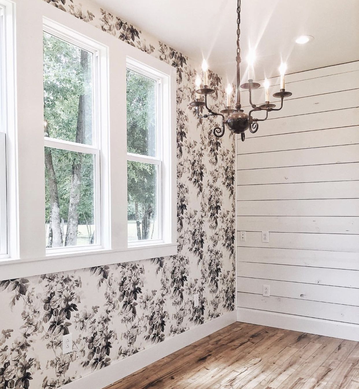 Wallpaper, shiplap, white windows, chandelier? Dining