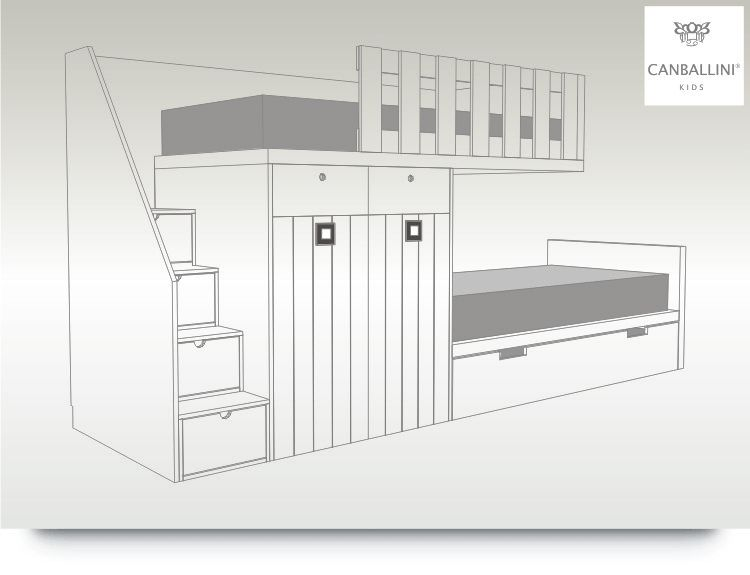 litera tren con dos armarios y cama nido