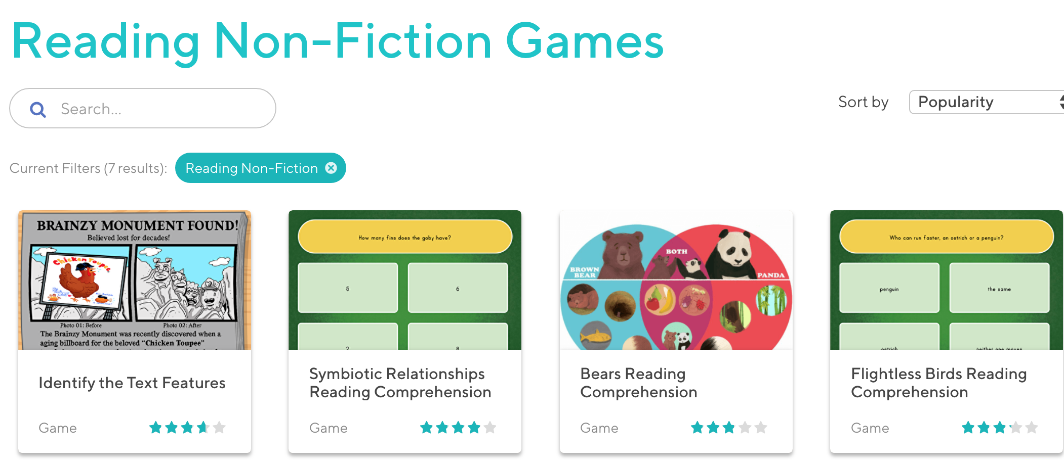 - Reading Nonfiction Games. Consist Of A Lot Of Free Online Reading