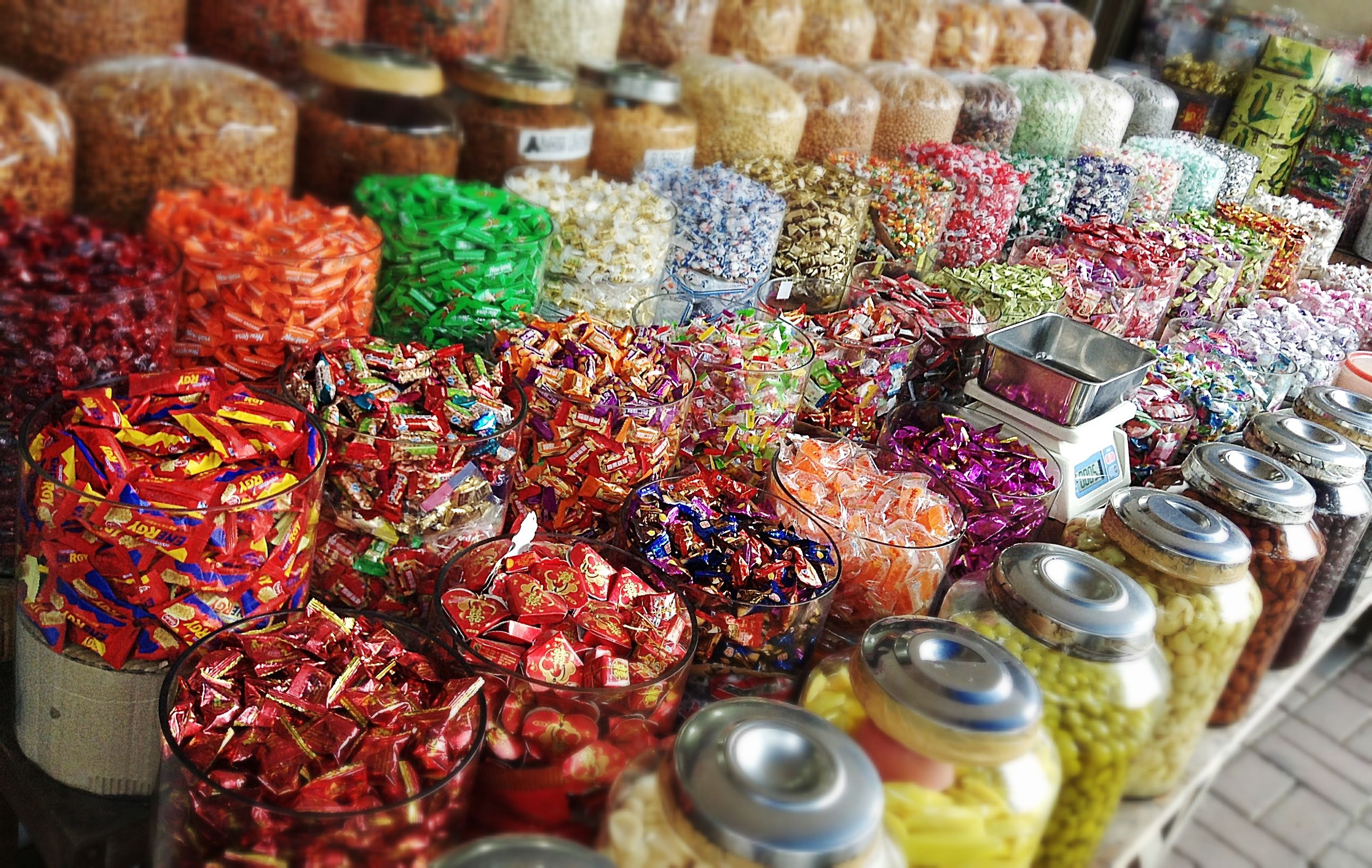 Colorful chinese candy sweets at chinatown glodok