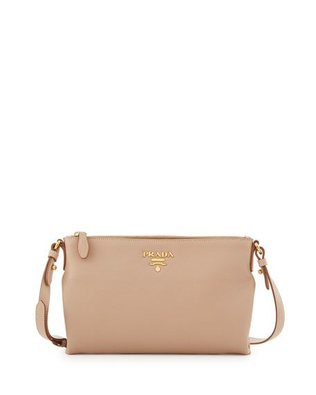 3b9fa1a573eb PRADA Vitello Daino Large Crossbody Bag, Black. #prada #bags #shoulder bags  #leather #crossbody #lining #