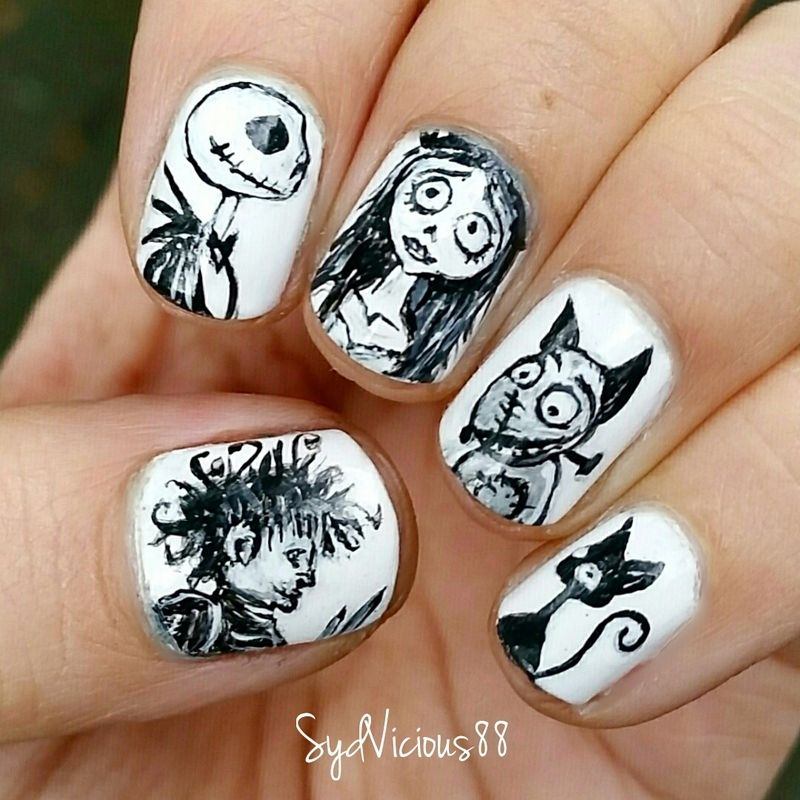 Tim Burton Nails nail art by SydVicious   Beauty and Nails ...