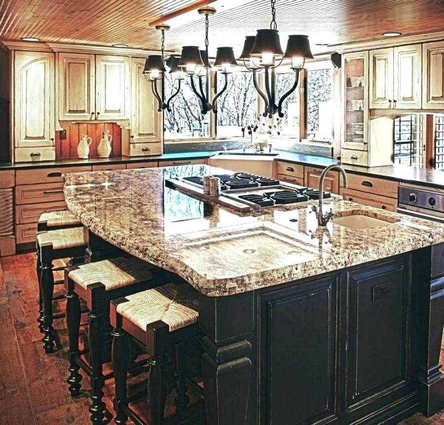 image result for kitchen island with sink and dishwasher and seating rustic kitchen design on kitchen island ideas black id=58773