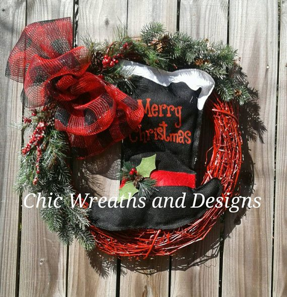 Check out this item in my Etsy shop https://www.etsy.com/listing/476476348/top-hat-christmas-wreath