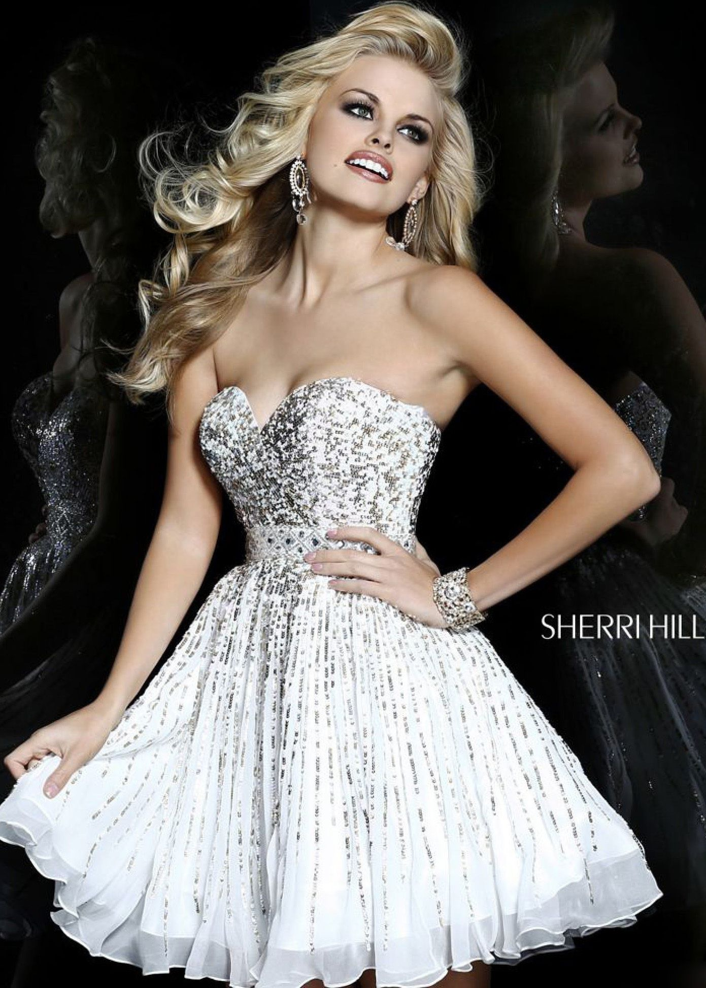 Find sherri hill ivory strapless sequin short homecoming