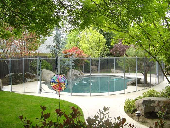 The Safest And Strongest Pool Fence 1 Swimming Pool Safety Fencing With Pool Gate Pool Fence Small Backyard Backyard Pool Designs