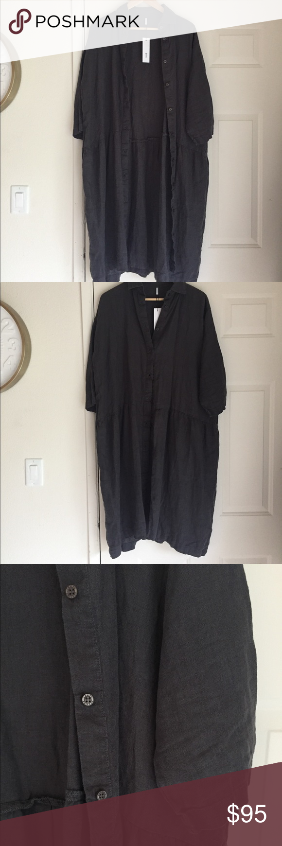 0a157b4638 Seaside Tones Oversized Linen Dress - Grey NWT - never worn or washed. Made  from 100% Baltic Linen Oversized - ones size fits all Measurements  Hips   51