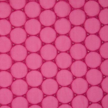 Carmine Pink Geometric Embroidered Organza Lace Fabric by the Yard | Mood Fabrics