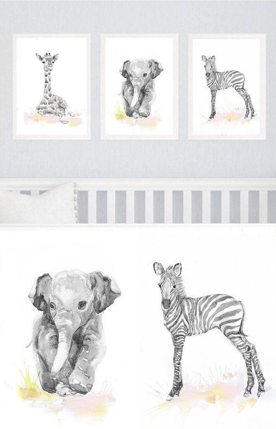 Neutral Kinderzimmer Dekor Set Aus 3 Drucken Kinderzimmer Tiere