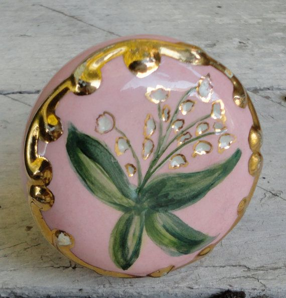 Vintage Pink And Gold Ceramic Door Knob Hand Painted