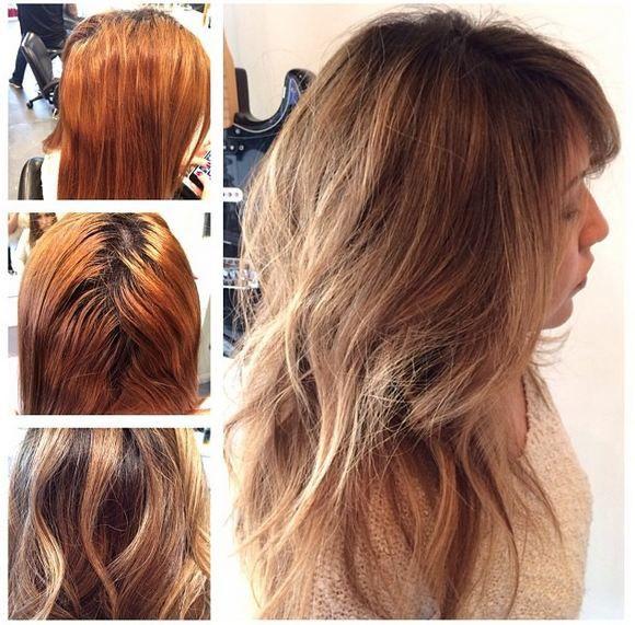 Color Correction From Brassy Orange To Tawny Brunette Toner For Orange Hair Color Correction Hair Brassy Hair