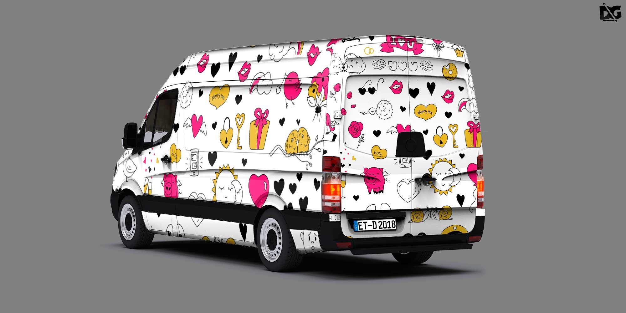Free Van Side Back Artwork Mockup Logo design mockup
