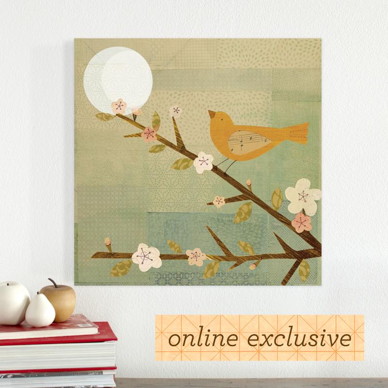 yellow bird blossoms wood panel / petitcollage | kids\' art :: wall ...
