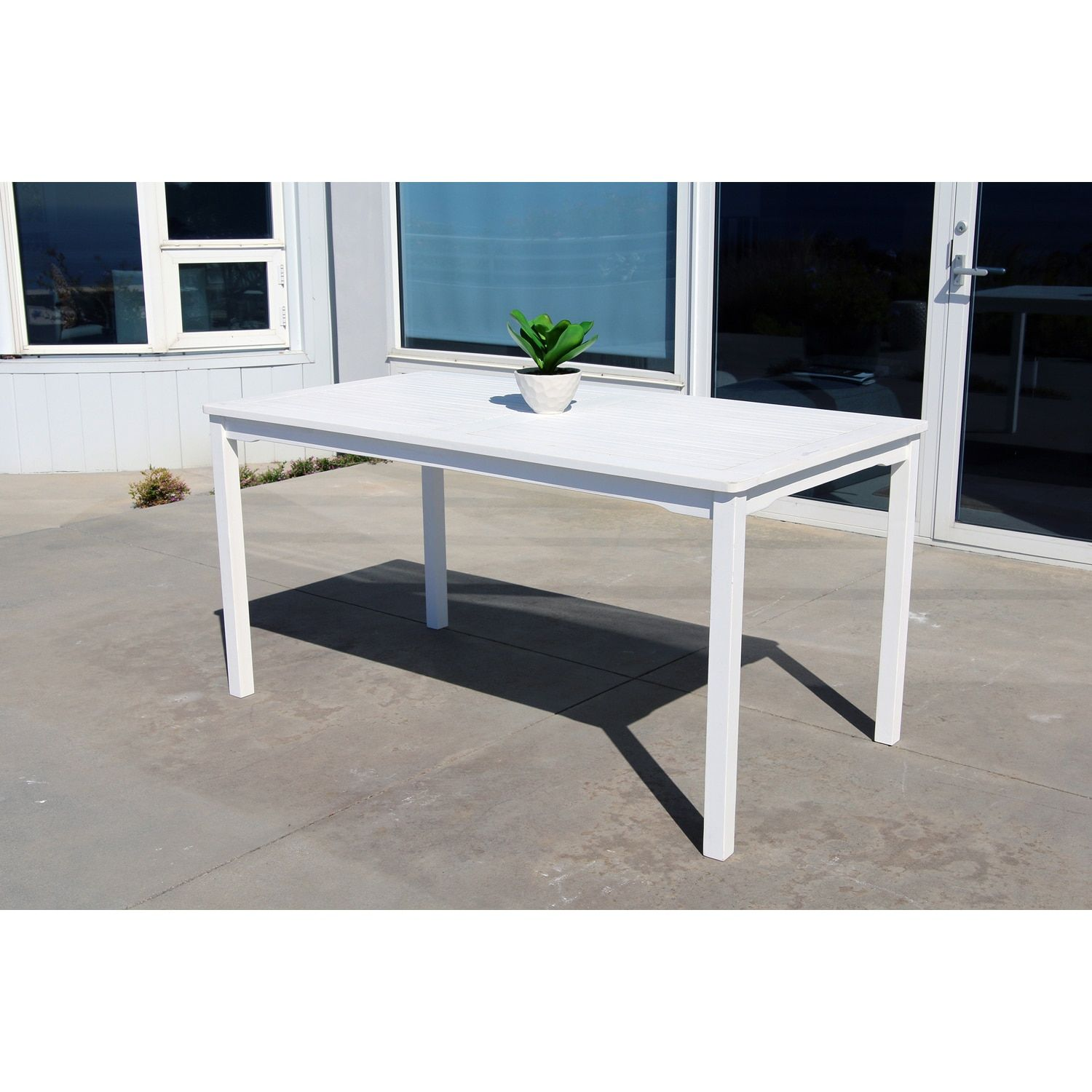 Siesta White Rectangular Wood Patio Dining Table