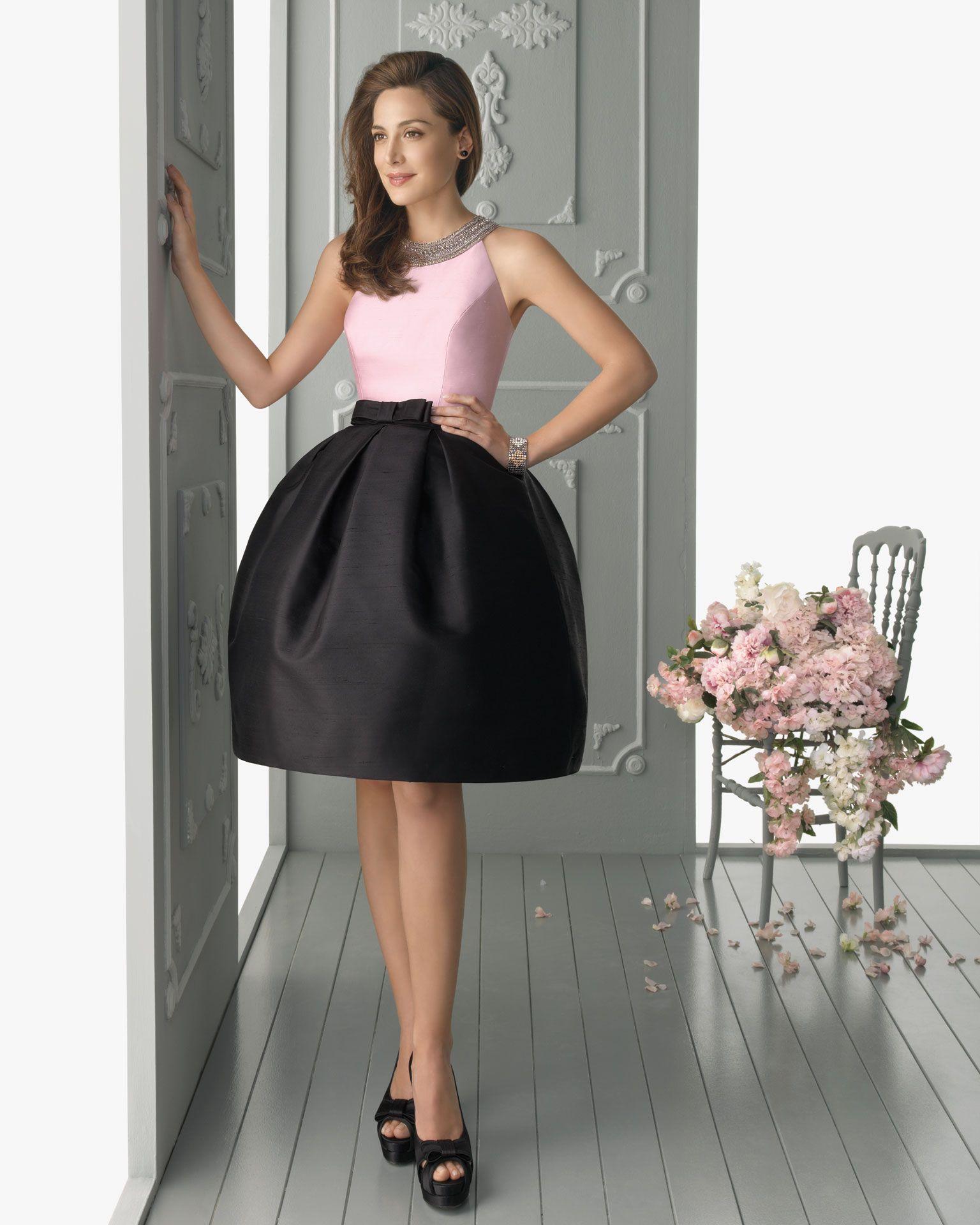black satin knee length dress