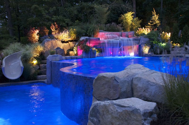 slide for j nd a infinity edge pool pool lighting swimming pool cipriano landscape design mahwah nj - Cool Pools With Waterfalls In Houses