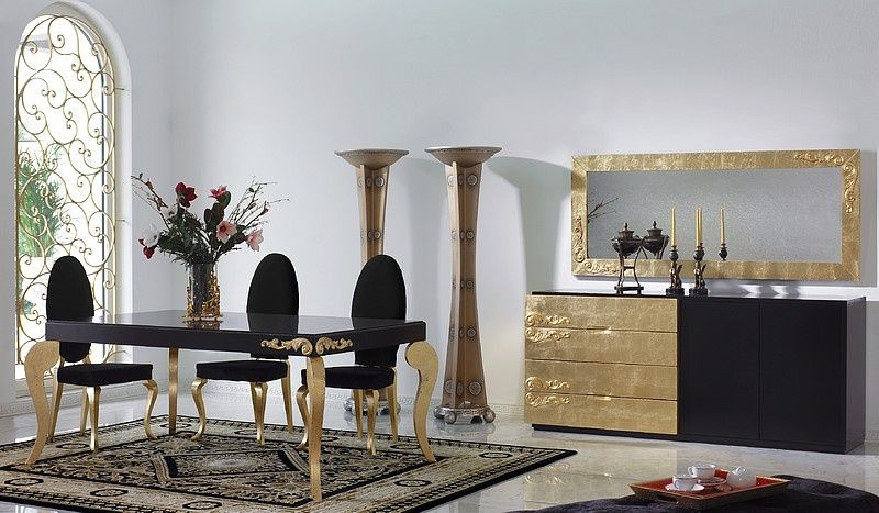 Black Dining Room Furniture Decorating Ideas Part - 24: Luxus Black And Gold Leaf Dining Set Collection