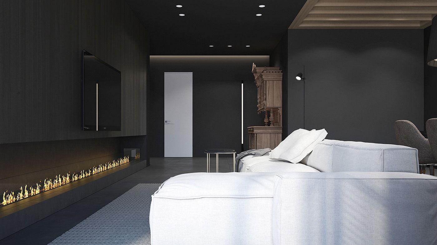 peinture noir mat, canapé d'angle blanc neige, cheminée design, porte intérieure en blanc neige et plafond bois