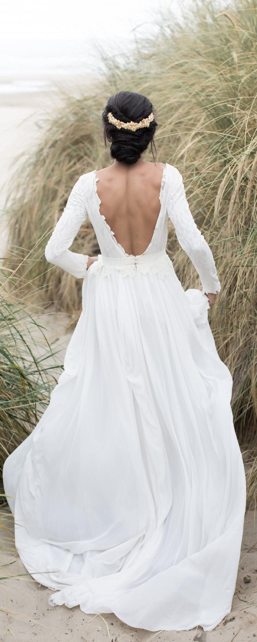 Long sleeve open back wedding dress with lace lining wedding looks