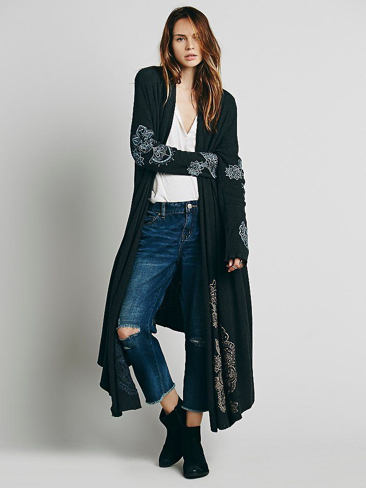 BIYA Embroidered Rib Wrap Cardi at Free People Clothing Boutique