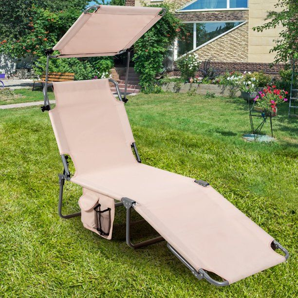 Gymax Foldable Lounge Chair Adjustable Outdoor Beach Patio