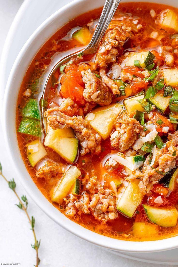 Healthy Zucchini Tomato Italian Sausage Soup