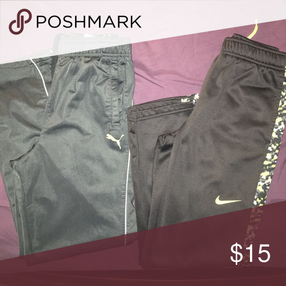 Nike and puma jogging pants bundle Gray and neon green jogging pants. Great to throw on when your on the go! Bottoms Sweatpants & Joggers