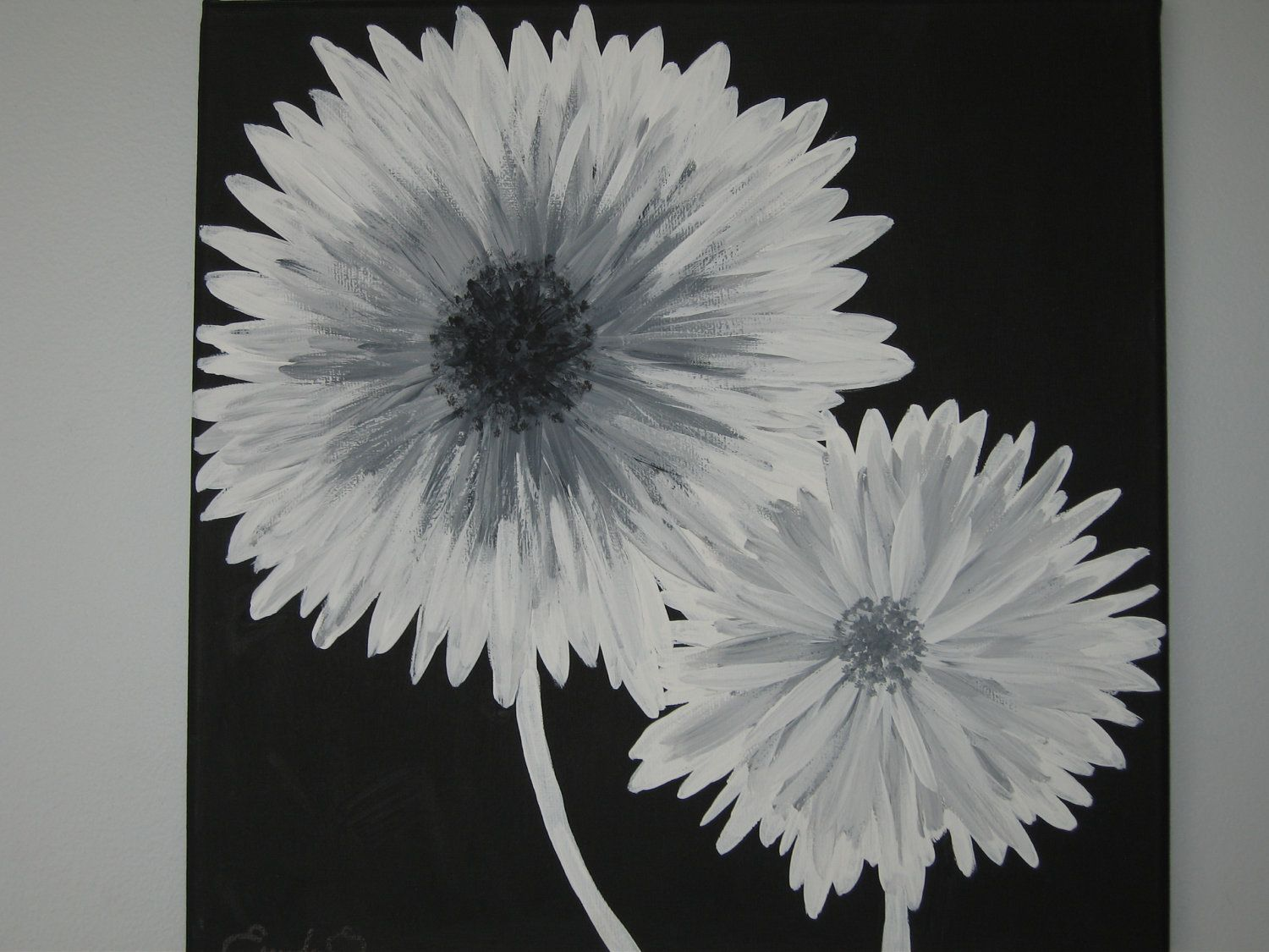 Modern black white and gray daisy flowers by emeraldinebyes canvas painting