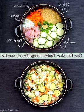 Eintopfreis: Huhn, Zucchini und Karotte Eintopfreis: Huhn, Zucchini und Karotte Ich mag das Konzept eines Topfes, in dem alles in der gleichen Pfanne gekocht wird, sich alle Aromen mischen und es wenig Geschirr tut ;-] Ich habe be...