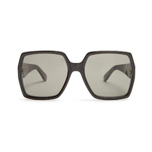 Oversized Rectangle Sunglasses in Black Saint Laurent Lq5TA7iBOz