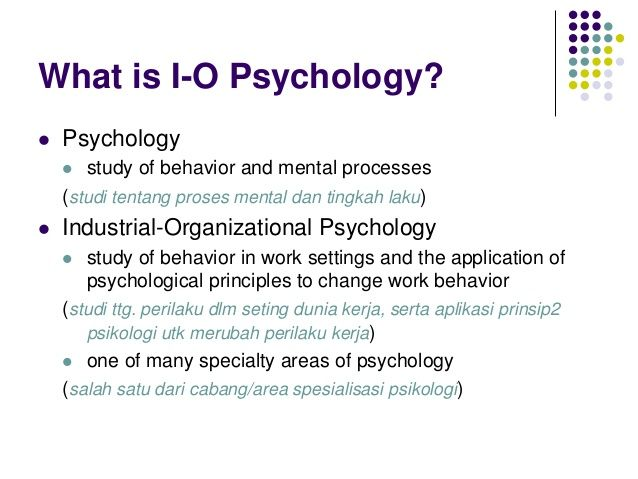 Industrial Organizational Psychology Industrial And