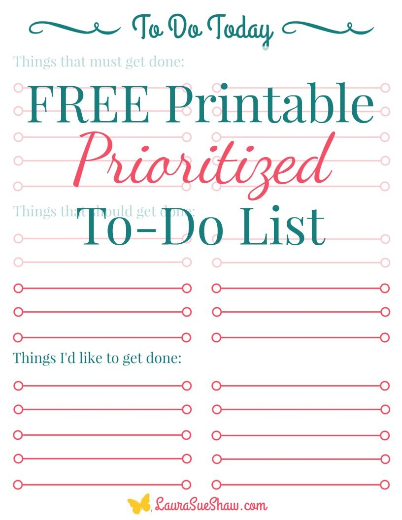 Free Printable Prioritized To Do List   Free printables, To do ...