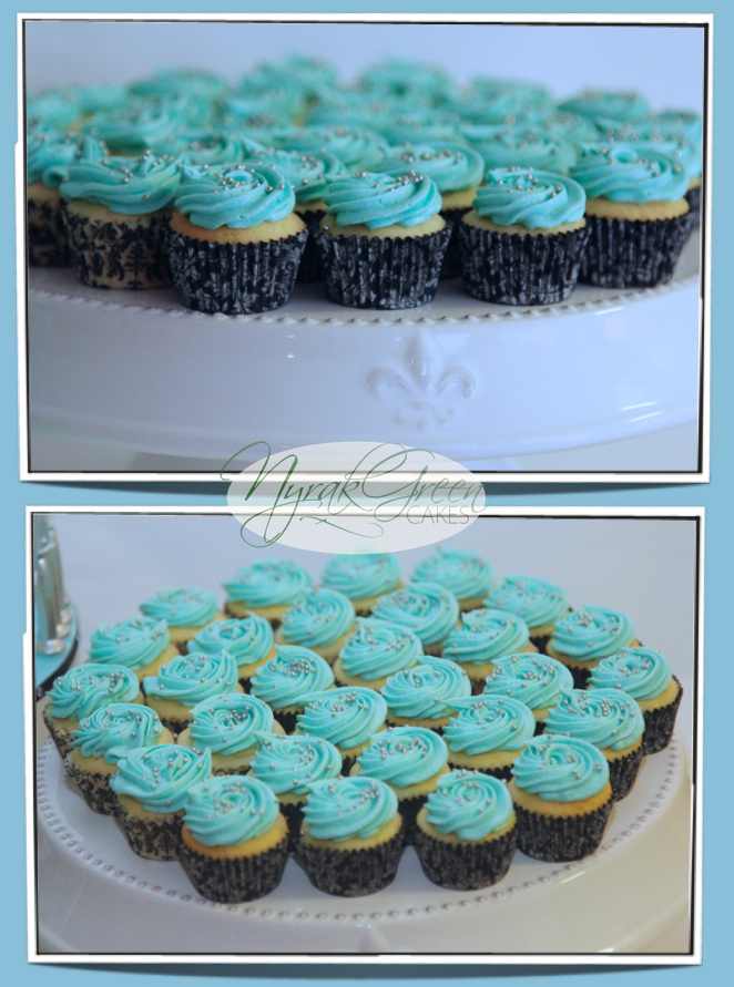Tiffany Co Inspired 21st Birthday Cake With Mini Cupcakes Misc