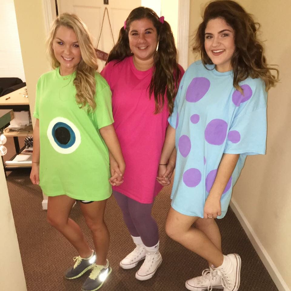 Melinda As Mike And Me As Sully Or Boo Trio Halloween Costumes Halloween Costumes Friends Bff Halloween Costumes